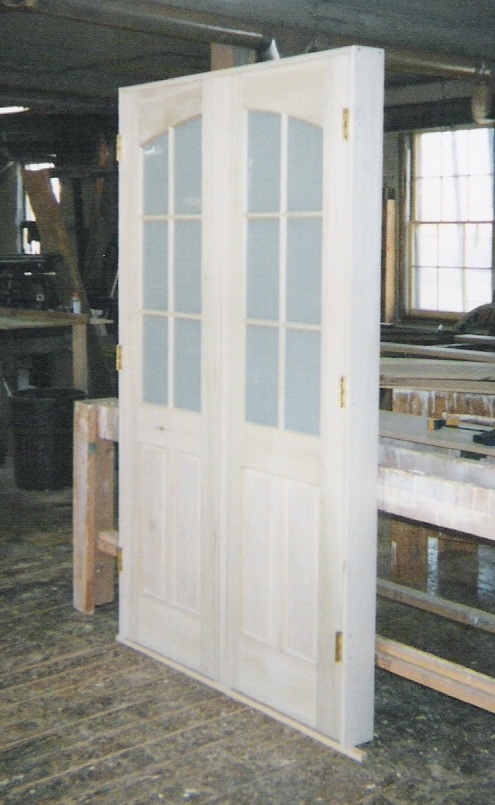 Custom made interior solid wood doors french arch top for Interior double doors