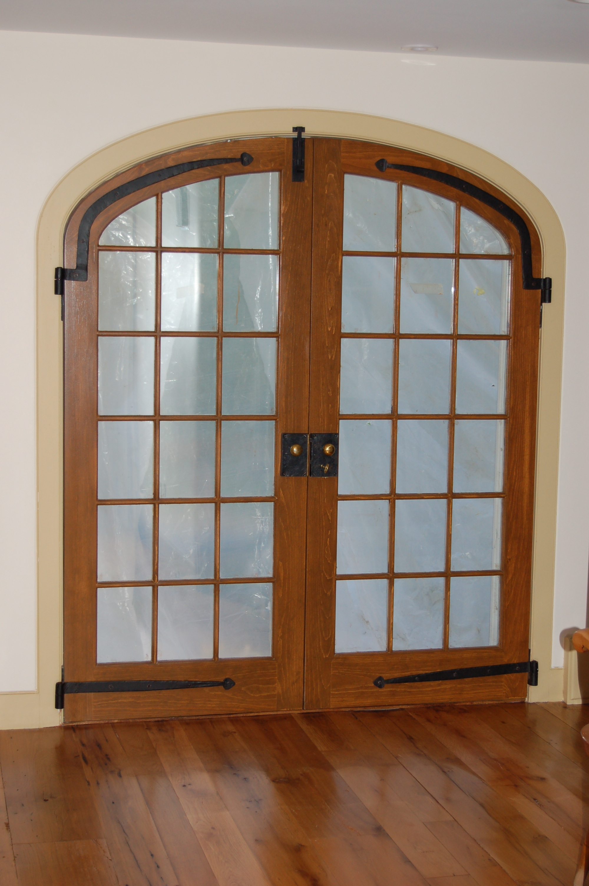 Custom built wood french doors interior exterior arch top for Double glass french doors