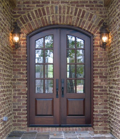 Arch top doors custom made built wood interior exterior for French storm doors