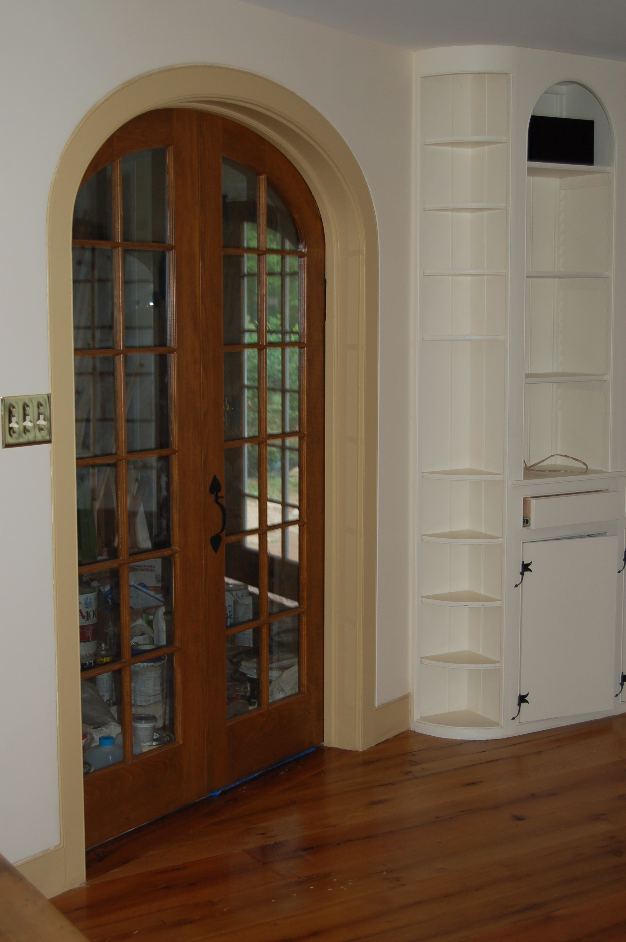 Custom made interior solid wood doors french arch top for Custom transom