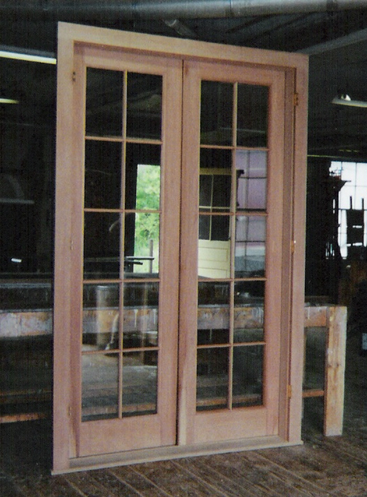 double french exterior door unit using double pane insulated glass with simulated mullions restoration project in pa - Single Exterior Doors