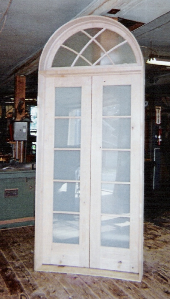 Custom wood doors interior exterior french arch top for Transom windows exterior