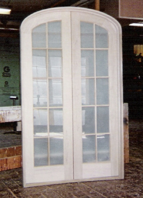 Custom made interior solid wood doors french arch top for Interior glass french doors