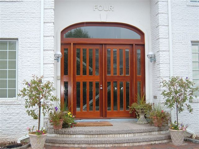 Custom Built Wood Exterior Doors Entryway Arch Top