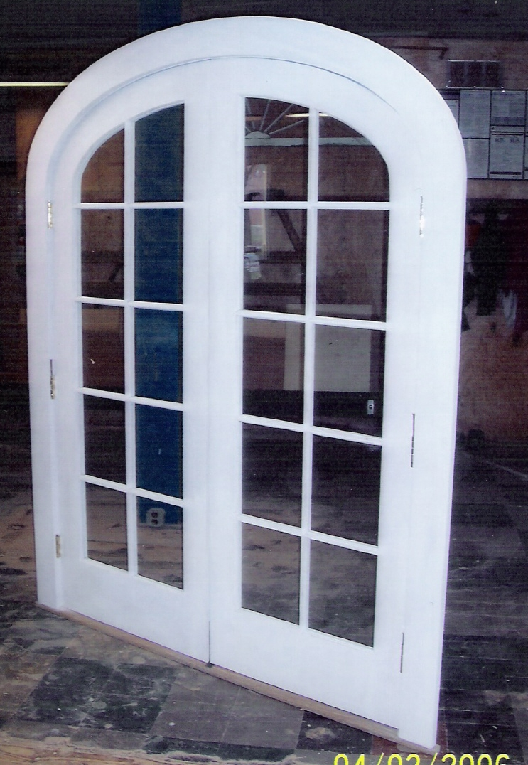 Custom built wood french doors interior exterior arch top arched top double french exterior door unit single pane glass restoration project in ma rubansaba