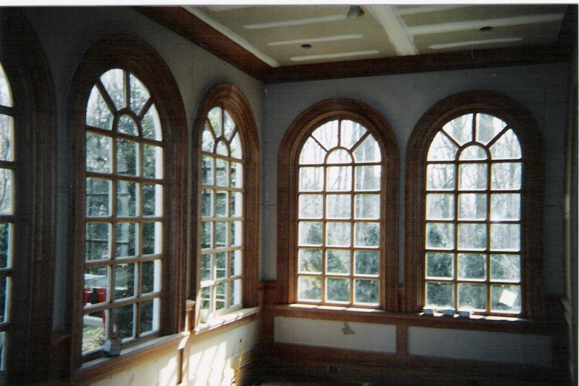 ... Arch Top Sun Burst Design Fixed Window Units   Cherry Interior With  Mahogany Exterior   Double Pane Insulated Glass   Project In CT.