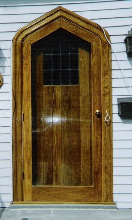 Restoration Project In NY White Oak Gothic Arch Top Entryway Door Unit For NYC